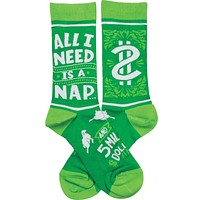 All I Need Is A Nap and 5 Million Dollars Socks Funny Novelty Socks with Cool Design, Bold/Crazy/Unique Specialty Dress Socks