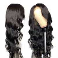Glueless Brazilian Hair Body Wave Lace Front Human Hair Wig for Black Women Natural Hairline 14inch