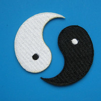 2 pcs, 1 pair iron on Embroidered Patch Tai Chi Yin Yang 2 inch