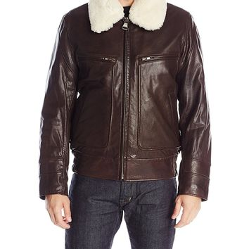 Marc New York by Andrew Marc Men's Carmine Distressed-Leather Aviator Jacket