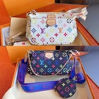 Louis Vuitton LV New color printing ladies three-piece diagonal bag cosmetic bag