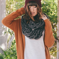 Charcoal Chunky Knit Infinity Scarf