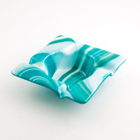 Fused Glass Ashtray, Cigar Ash Tray, Smoking Accessories, Teal Home Decor, Ash Catcher, Cigarette Tray, Cool Gifts for Men, Gifts under 30