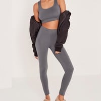 Missguided - Basic Jersey Crop Top Grey