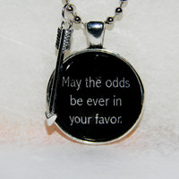 Hunger Games Necklace. May The Odds Be Ever In Your Favor. 18 Inch Ball Chain.
