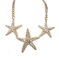 Summer Spring Ocean Nautical Theme Triple Star Fish Crystals Statement Necklace
