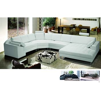 Varese Black Leather Sectional with Left-Arm-Facing-Chaise ( LAFCS )