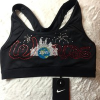 Black - NIKE Pro Sports Bra - Worlds 2015 Design : GLITZ Cheer BowZ, Custom Products From Your Head To Your Toes
