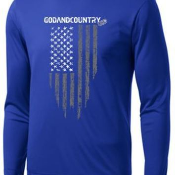 Long Sleeve United As Intended Patriotic Shirt with Distressed American Flag [True Royal Blue]