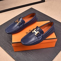 Hermes Men's Leather Fashion Loafers Shoes