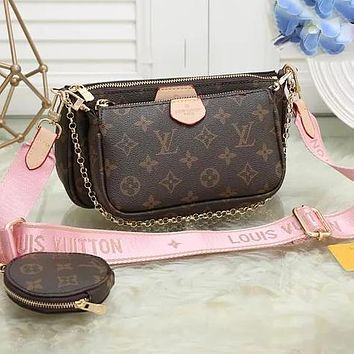 Hipgirls LV Three Piece Suit Bag Louis Vuitton New fashion Handbag Leather Crossbody Bag Pink
