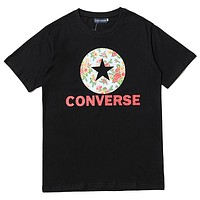 Converse 2019 new coconut tree print casual round neck short-sleeved T-shirt Black
