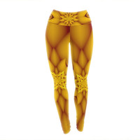 "Michael Sussna ""Citrus Star"" Orange Yellow Yoga Leggings"