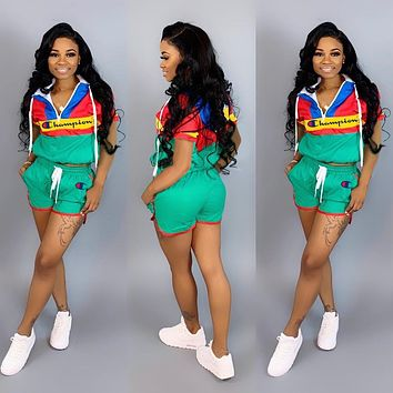 CHAMPION Womens Two Piece Hoodies and Short Set Clothing G103