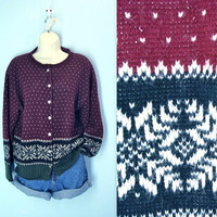 Snowflake Sweater / Vintage 80s Cardigan Sweater Tally Ho