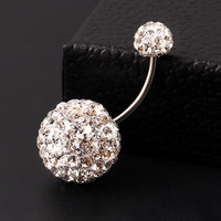 Trendy Ball White Crystal Navel Ring Stainless Steel Piercing Belly Button Rings Body Fashion Jewelry Summer Style Women PT32