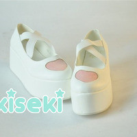 Heart Platform Shoes - Fairy Kei, Pop Kei, Sweet Lolita, Harajuku - FREE SHIPPING from Kiseki