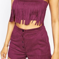Missguided Fringed Bandeau Crop Top