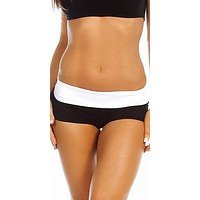 Sexy Balance Roll Down Top Athletic Yoga Hot Pants - Black/White