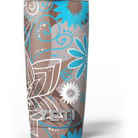 Brown Surface with Blue and White Whymsical Floral Pattern Yeti Rambler Skin Kit