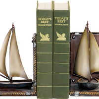 0-002683>Pair Sailboat Bookends Green/Brown