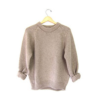 Thick Chunky 80s Sweater Oatmeal Brown Crewneck Raglan Knit Pullover Preppy Vintage Minimal Tomboy Cozy 70s Soft Sweater Womens Small Medium