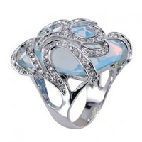 Large White Gold Opaque Blue Square Cocktail Ring