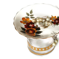 China & Glass Jewelry Holder Roses Red Gold Green Floral Cottage Chic Vintage Dresser Display -US Shipping Included