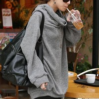 Luxurious Loose Turndown Collar Solid Color Plus Size Hoodie