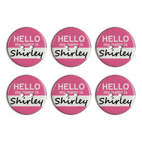 Shirley Hello My Name Is Plastic Resin Button Set of 6