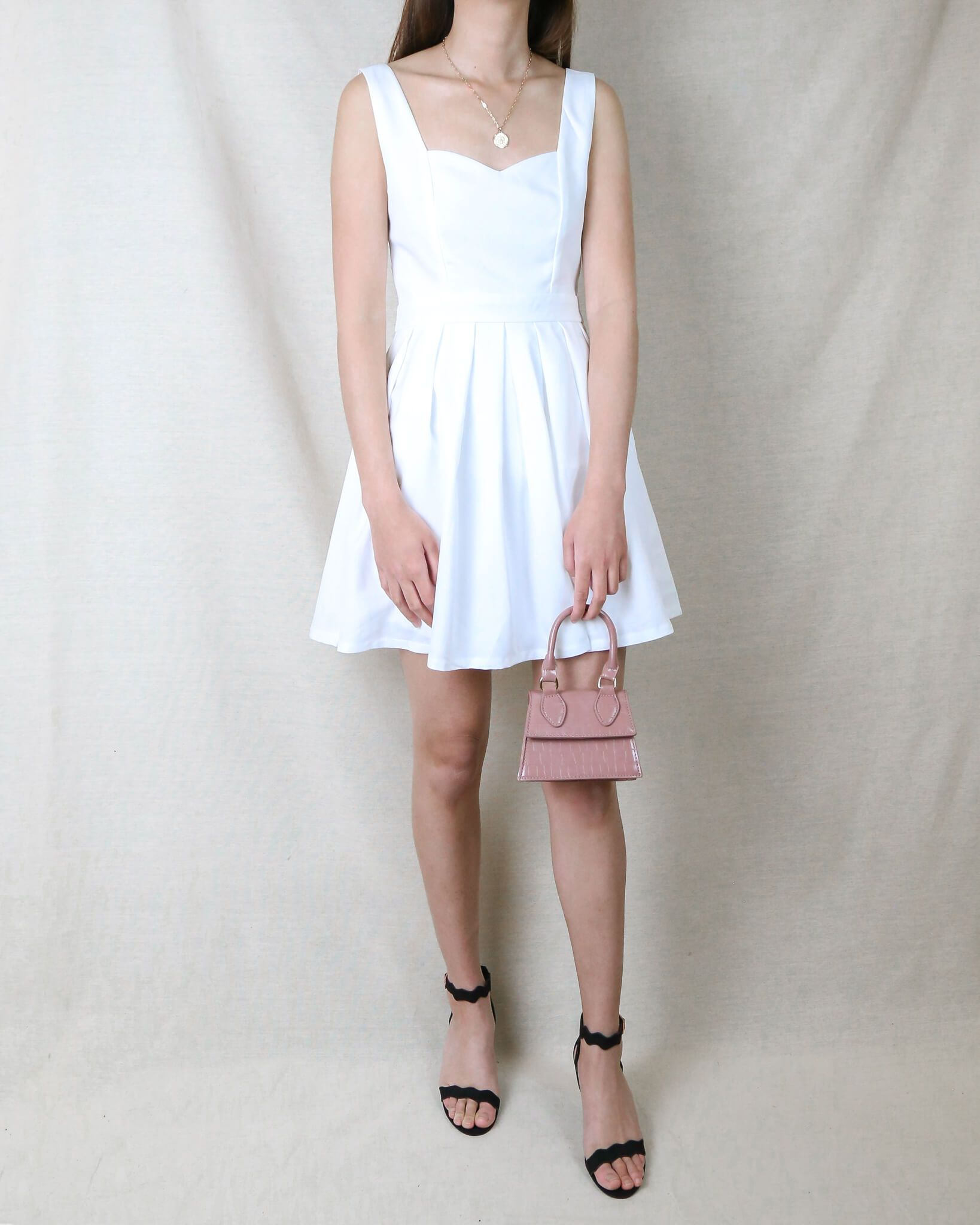 Image of Heart Cut Out Mini Dress in White