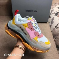 NEW WHITE PINK YELLOW BOLD BALENCIAGA COLLECTIBLE SNEAKERS SHOES FOR WOMEN MEN GIFT