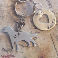 Personalized pet keyring, Labrador retriever keychain, hand stamped dog keyring, I love my dog, memorial charm