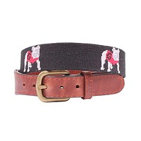 University of Georgia Bulldog Needlepoint Belt in Black by Smathers & Branson