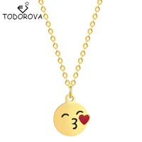 Todorova Trendy Popular Cute Red Love Heart Kiss Emoji Cartoon Funny Face Pendant Necklace Long Chain for Women Girls Jewelry