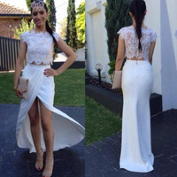 White Lace Prom Dresses,Two Piece Prom Dresses,Long Evening Dress