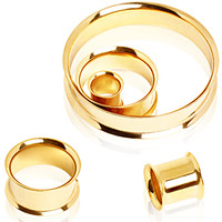 Gold Plated Over 316L Surgical Steel Double flared Tunnel Plug