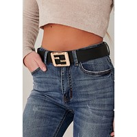 Give You Attitude Mirrored Square Buckled Belt (Black)