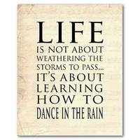 Inspirational Wall Art - Life is not about waiting for the storms to pass...It's about learning to dance in the rain - Typography Word Art