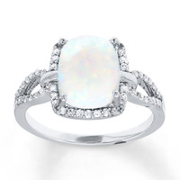 Lab-Created Opal Ring 1/4 ct tw Diamonds Sterling Silver