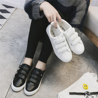 All-match Fashion Rhinestones Velcro Small White Shoes Harajuku Shoes Microfiber Leather Casual Shoes Flats Shoes Student Shoes Plate Shoes  Female Single Shoes