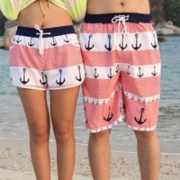 Sweetly and lovely Anchor pattern stripe beach shorts
