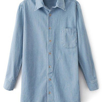 ROMWE Pocketed Long Sleeves Light Blue Shirt
