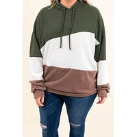 Green Lucky Break Color Block Hoodie
