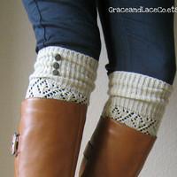 The LouLou Natural Openwork Legwarmers with by GraceandLaceCo
