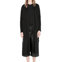 Black Long Sleeve Open Front Coat