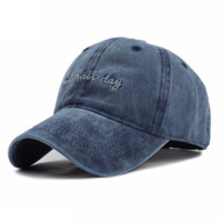 Navy Blue BAD HAIR DAY Washed Cotton Adjustable Solid color Baseball Cap
