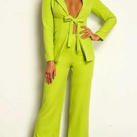 Spring In Your Step Long Sleeve Plunge V Neck Tie Belt Blazer Loose Wide Leg Pants Two Piece Jumpsuit Set - 3 Colors Available