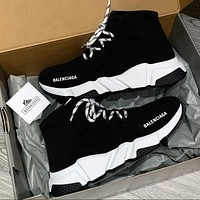 Balenciaga Speed knit Mid sneakers new knit lace-up mid-cut socks set foot jogging shoes Black