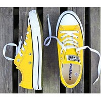 Alwayn Converse classic tide brand low men and women models versatile canvas shoes Yellow